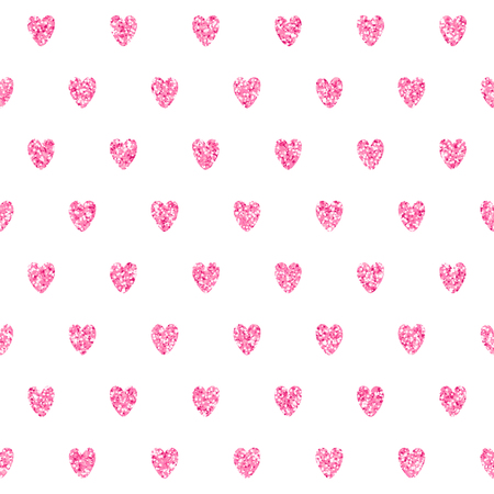 Romantic vector seamless pattern with sparkling pink hearts. Tender background perfect for fabric and textile design and wrapping paper.
