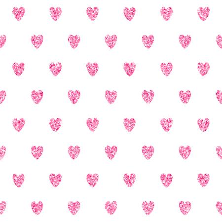 Romantische vector naadloze patroon met sprankelende roze hartjes. Tender achtergrond perfect voor stof en textiel design en inpakpapier. Vector Illustratie