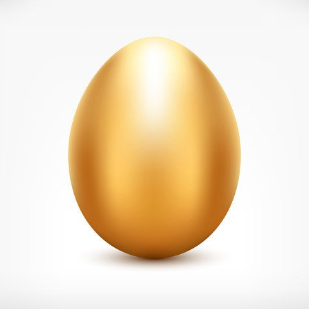 golden egg. Shiny metallic Easter egg icon for your design.