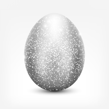 Shiny silver glitter egg icon for your design.