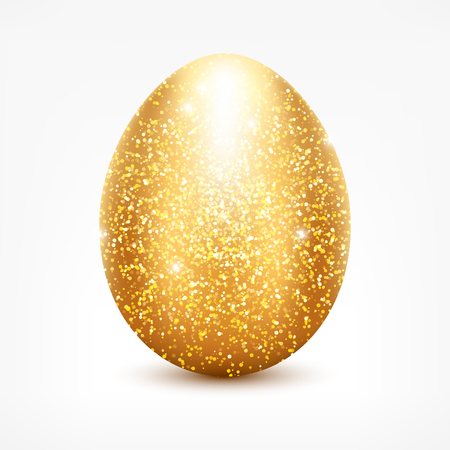 golden glitter egg. Shiny sparkling golden Easter egg icon for your design. Иллюстрация