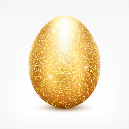 golden glitter egg. Shiny sparkling golden Easter egg icon for your design. Stock Illustratie