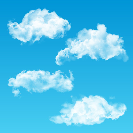 High quality transparent clouds set. Realistic white cloud templates for your design. Illustration
