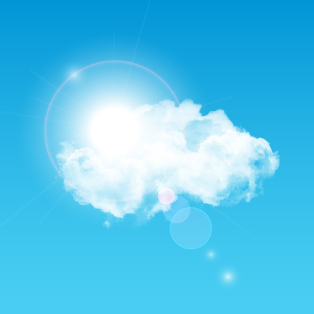 lens: illustration of sun shining through big white realistic cloud with lens flare effect. Clear blue sky illustration.