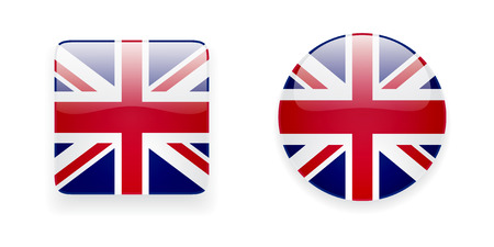 union jack flag: The Union Jack flag vector icon set. Glossy round icon and square icon with flag of the UK on white background. Illustration