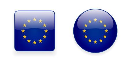 european union flag: The European Union flag vector icon set. Shiny round icon and square icon with Europe flag on white background. Illustration