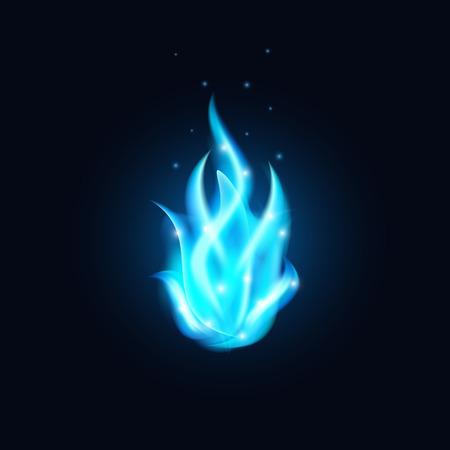 blue fire Hintergrund. Schöne blaue Flamme Illustration.