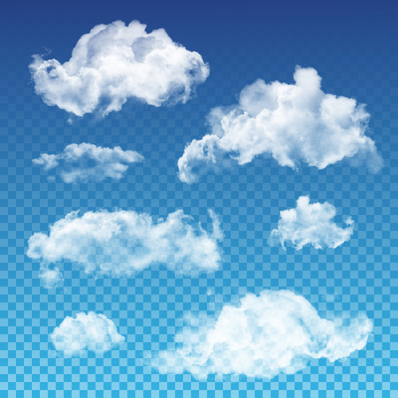 transparent clouds set. Realistic transparent white cloud design templates.