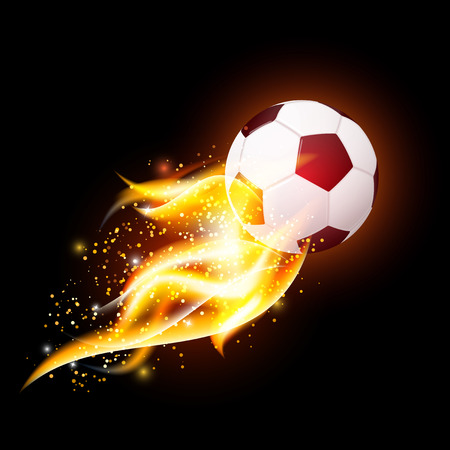 football soccer ball with fire flames on dark black background