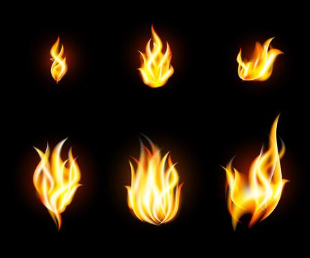 transparent fire flames set on dark background