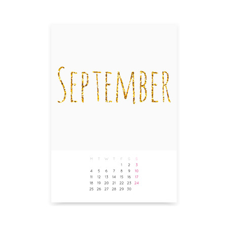 Minimalistic clean September 2017 calendar page  template. Shiny golden glitter title. Week starts from Monday. Illustration