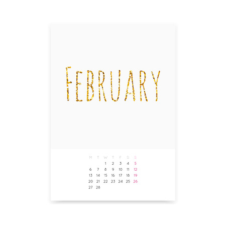 Minimalistic February 2017 calendar mockup. Shiny golden glitter title. Week starts from Monday.
