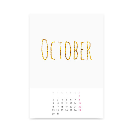 Minimalistic October 2017 calendar mockup. Shiny golden glitter title. Week starts from Monday.