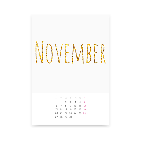 Minimalistic clean November 2017 calendar page template. Shiny golden glitter title. Week starts from Monday.