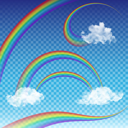 Transparent rainbows set. Five different  rainbow templates for your design.