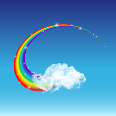 Shiny vector rainbow. Beautiful rainbow and transparent white cloud on blue sky background.