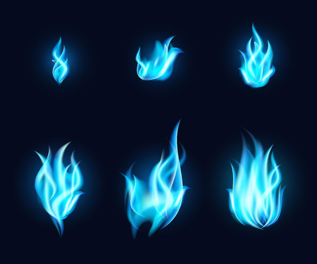 Blue fire vector set. Transparent blue flames collection on dark background.