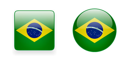 Glossy Brazilian flag vector icons. Round and square shiny icons with national flag of Brazil.