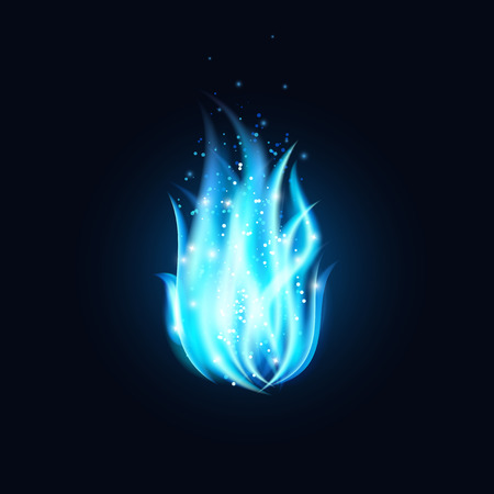 Vector blue fire illustration. Dark background with beautiful blue flame.