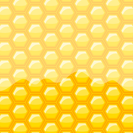 Shiny golden yellow honey vector background. Gold honeycomb vector pattern. Illustration