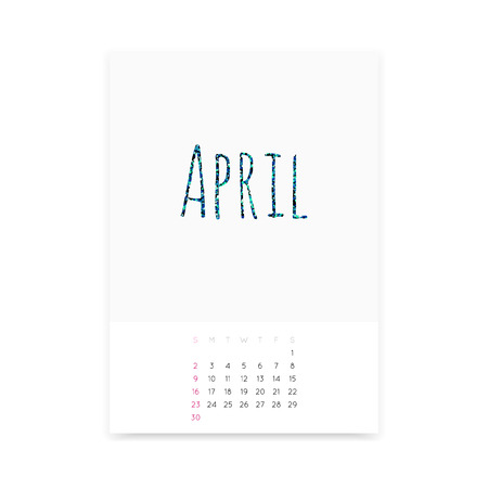 Minimalistic clean April 2017 calendar page vector template. Shiny turquoise glitter title. Week starts from Sunday.