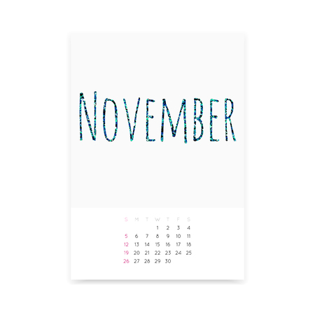 Minimalistic November 2017 calendar vector mockup. Shiny green blue glitter title. Week starts from Sunday.