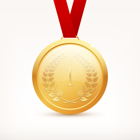Shiny vector gold medal with red ribbon Illustration