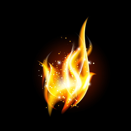 Vector transparent fire flame on dark background