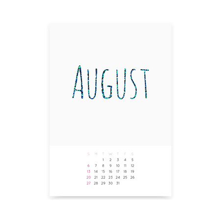 Minimalistic clean August 2017 calendar page vector template. Shiny turquoise glitter title. Week starts from Sunday.