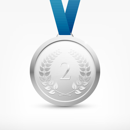 Shiny vector silver medal with blue ribbon Stock Illustratie
