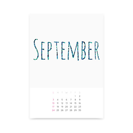 Minimalistic September 2017 calendar vector mockup. Shiny green blue glitter title. Week starts from Sunday. Illustration