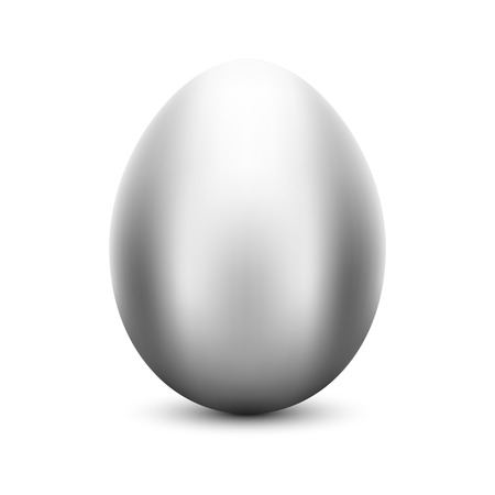 Vector metal silver Easter egg
