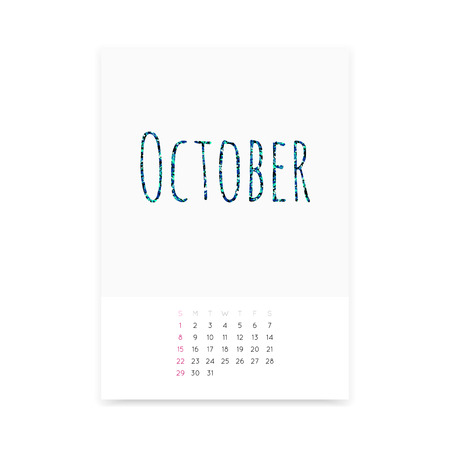 Minimalistic clean October 2017 calendar page vector template. Shiny turquoise glitter title. Week starts from Sunday.