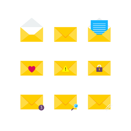 Vector email icon set. Flat design yellow email envelope web icon pack.