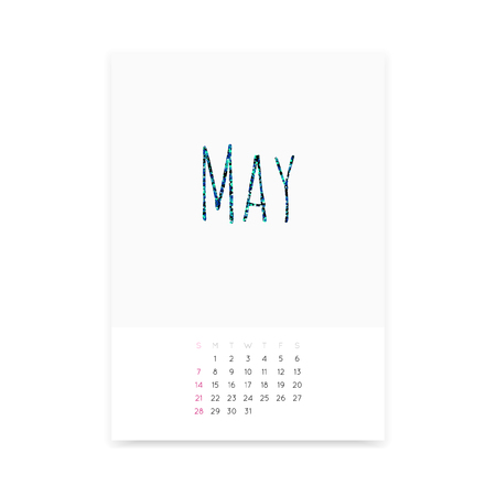 Minimalistic May 2017 calendar vector mockup. Shiny green blue glitter title. Week starts from Sunday.