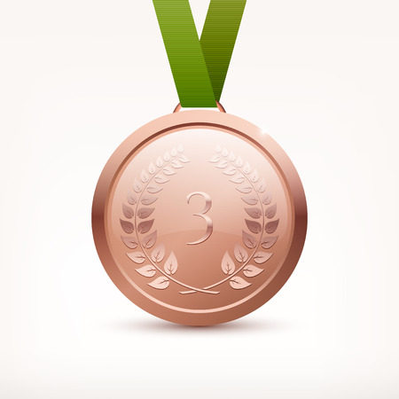 Shiny vector bronze medal with ribbon