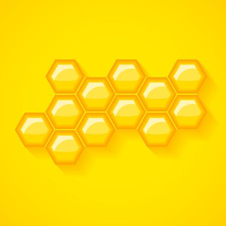 Golden yellow honeycomb vector background. Shiny honey wax cells vector illustration.