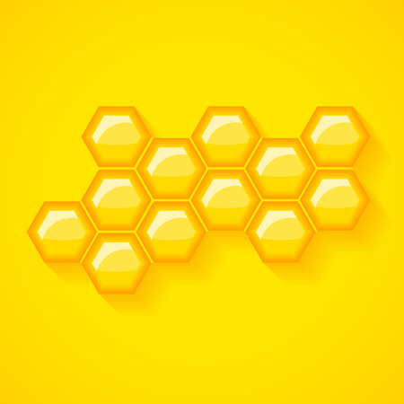 beeswax: Golden yellow honeycomb vector background. Shiny honey wax cells vector illustration.