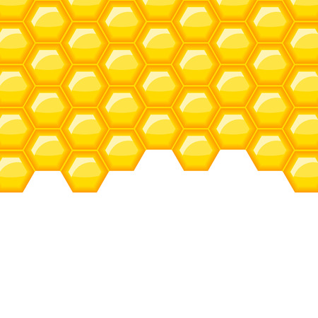 Golden yellow honey vector background with space for your text. Gold honeycomb vector pattern with copyspace.