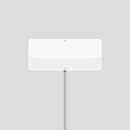 Blank white rectangular traffic sign mockup. Empty vector road sign template. Illustration