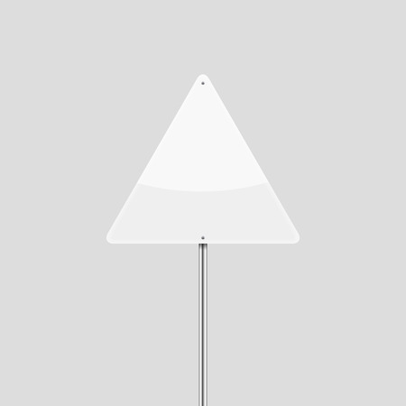 White blank triangular vector traffic sign Illustration
