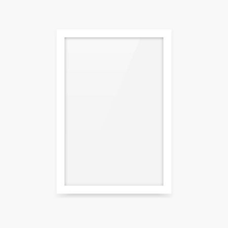 Simple clean white vertical vector blank photo frame mockup with portrait orientation (2x3) Illustration