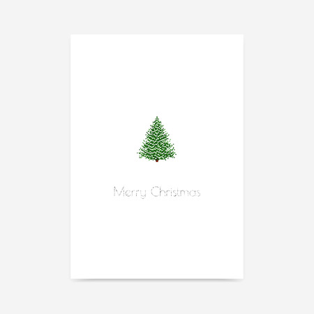 Simple minimalistic vector greeting card with pixel snow covered Christmas tree and silver glitter text