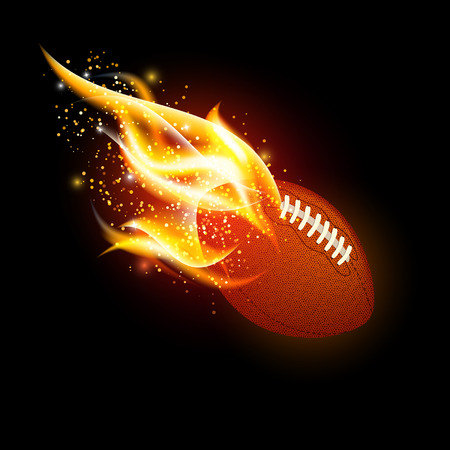 Vector american football ball with fire flames on dark black background Illustration