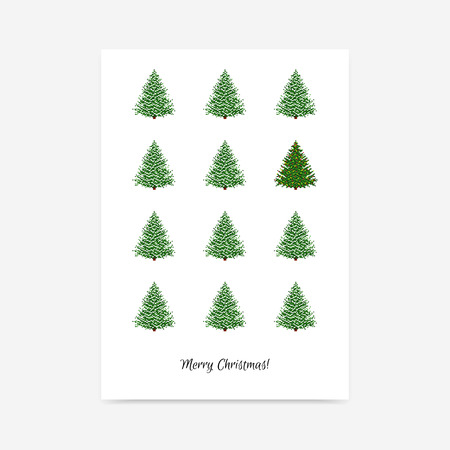 snow chain: Minimalistic clean holiday vector poster with Christmas trees Illustration