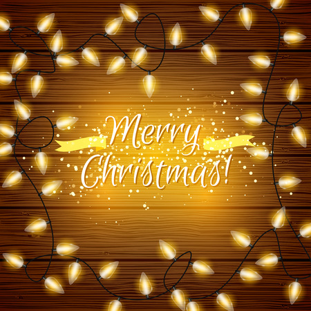 Vector Christmas lights on wood texture background