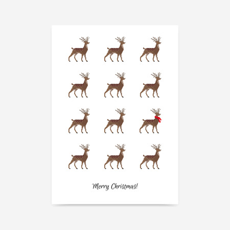 Minimalistic clean merry Christmas vector poster with deer