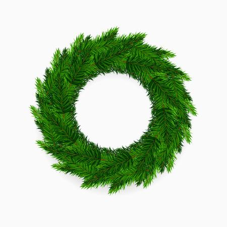 Fresh green blank Christmas wreath on white background Illustration