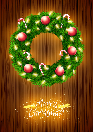 Beautiful vector Christmas wreath with lights, candy canes and decorations on wooden background