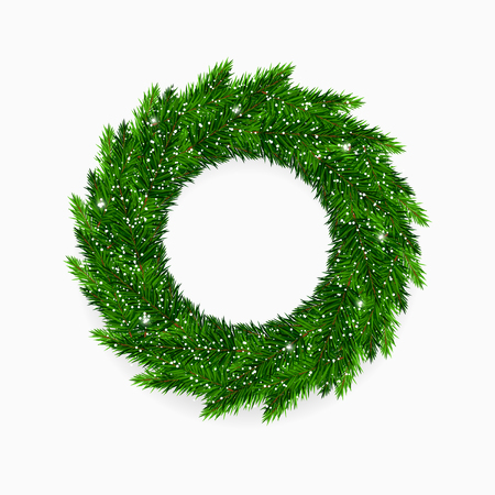 Fresh green vector Christmas wreath covered in snow